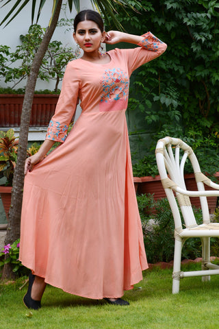Orange Color Rayon Stitched Kurti - JM0-7352