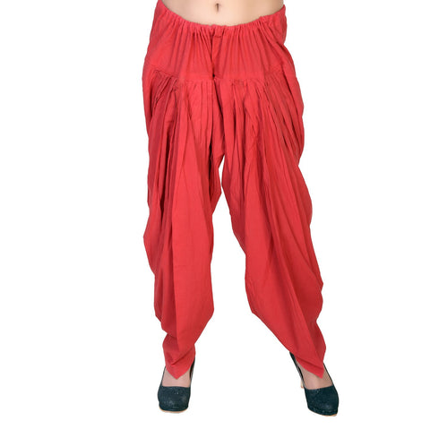 Red Color Pure Cotton Stitched Patiala - JM0-9956