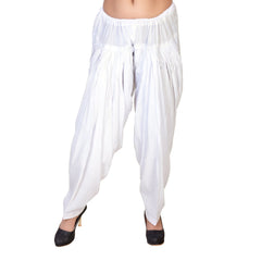 Buy White Color Cotton Stitched Patiala