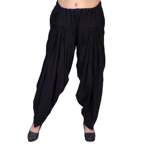 Black Color Pure Cotton Stitched Patiala - JM0-9997
