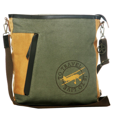Green Color Upcycled Canvas And Buff Leather Womens Messenger Bag - JM52900MB