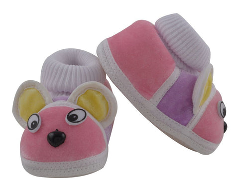 Pink Color Soft Cotton Puppy Baby Booties for New Born Baby - JMA-506
