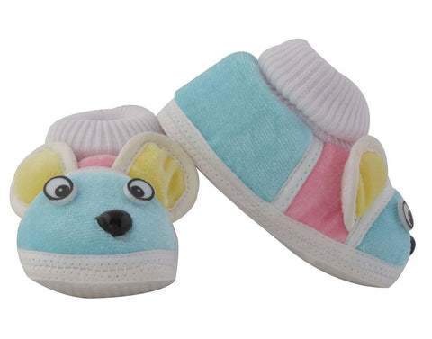 Sky Blue Color Soft Cotton Puppy Baby Booties for New Born Baby - JMA-508