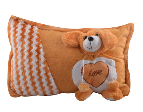 Brown Color Stuffed Soft Toy Teddy Bear Pillow  for Baby - JMA-529