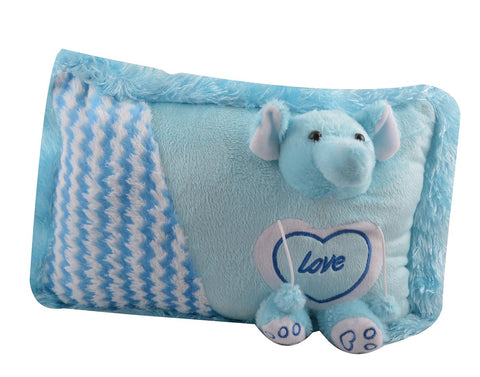 Blue Color Stuffed Soft Toy Elephant Pillow  for Baby - JMA-531