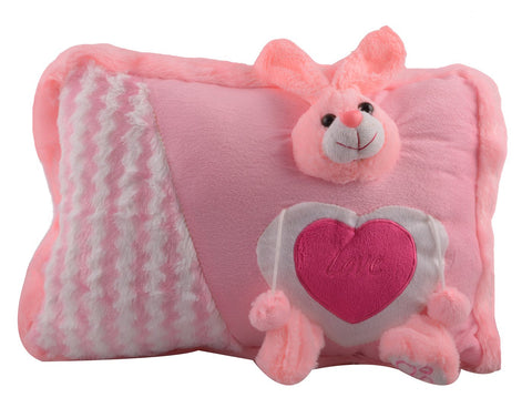 Pink Color Stuffed Soft Toy Rabbit Pillow  for Baby - JMA-532