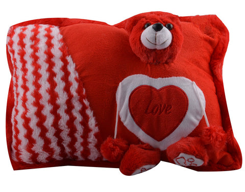 Red Color Stuffed Soft Toy Teddy Bear Pillow  for Baby - JMA-535