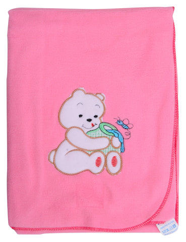 Pink Color Single Polyester Fleece Blanket for Baby  - JMA127