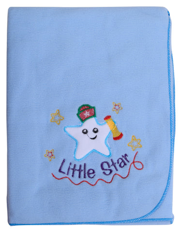 Blue Color Single Polyester Fleece Blanket for Baby  - JMA128