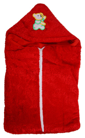 Red Color Poly Cotton Soft Baby Wrapper with Zip  - JMA142