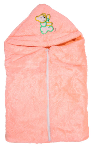 Orange Color Poly Cotton Soft Baby Wrapper with Zip  - JMA143