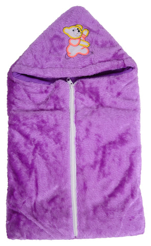 Purple Color Poly Cotton Soft Baby Wrapper with Zip  - JMA144