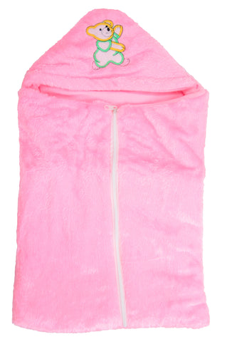 Pink Color Poly Cotton Soft Baby Wrapper with Zip  - JMA146