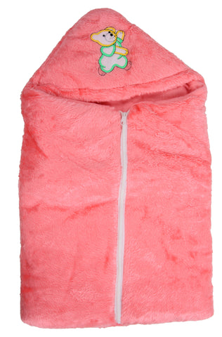 Pink Color Poly Cotton Soft Baby Wrapper with Zip  - JMA147