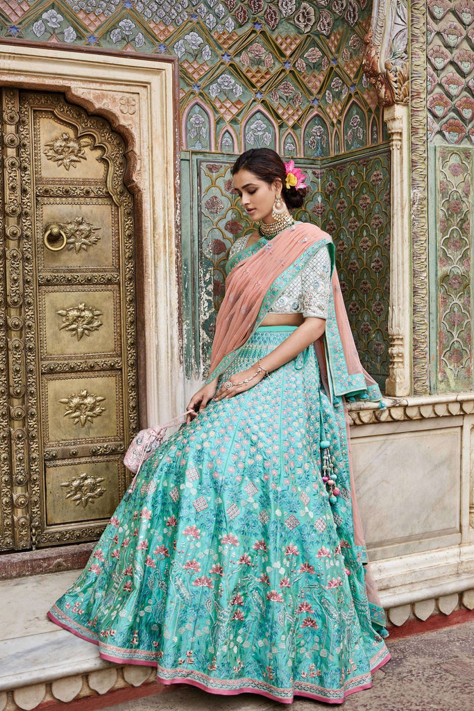 Buy Sea Green Color Mulberry Unstitched Lehenga