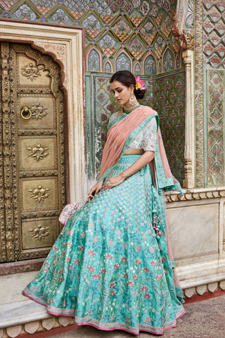 Sea Green Color Mulberry Unstitched Lehenga - JN114