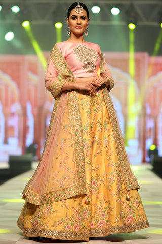 Yellow Color Mulberry Semi-Stitched Lehenga - DN-120