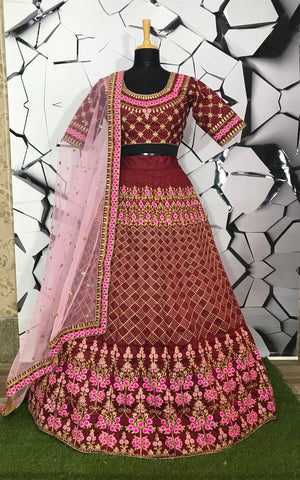 Maroon Color Mulberry Semi-Stitched Lehenga - DN-124