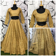 Beige Color Mulberry Semi-Stitched Lehenga - DN-127