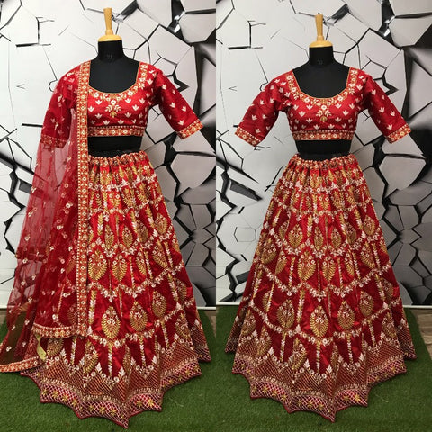 Coral Red Color Mulberry Semi-Stitched Lehenga - DN-134