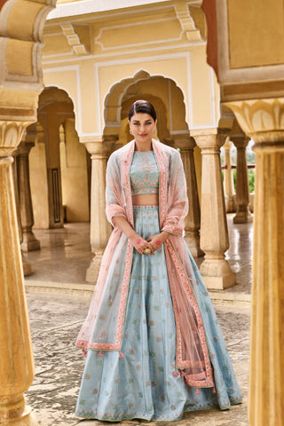 Sky Blue Color Mulberry UnStitched Lehenga - JN26
