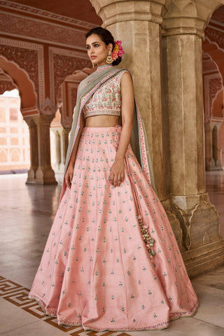Peach Color Mulberry UnStitched Lehenga - JN28