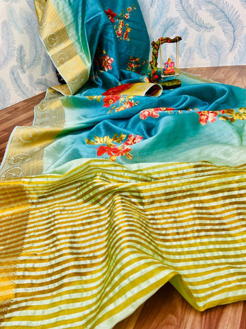 Sky Blue And Golden Color Silk Saree - JNCN-S_251