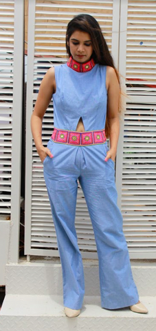 Blue Color Cotton Stitched Women Jump Suit - JP02