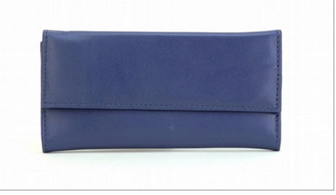 Blue Color Leather Women Jewelry Roll Bag - JR220BLUE
