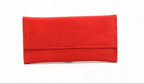 Red Color Leather Women Jewelry Roll Bag - JR220RED