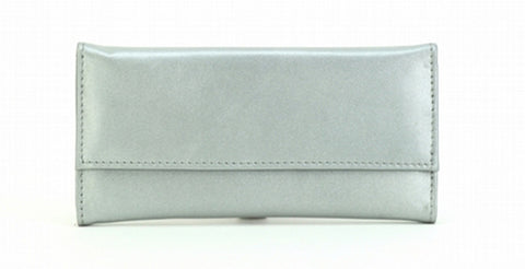Silver Color Leather Women Jewelry Roll Bag - JR220SLVR