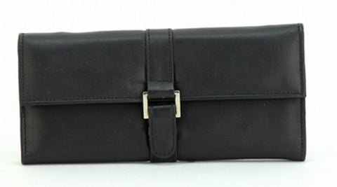 Black Color Leather Women Jewelry Roll Bag - JR275BLK