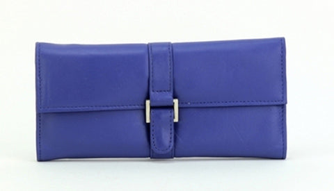 Blue Color Leather Women Jewelry Roll Bag - JR275BLUE