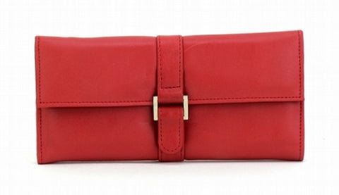 Red Color Leather Women Jewelry Roll Bag - JR275RED
