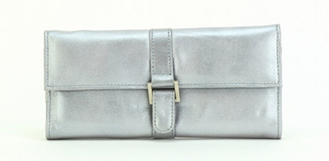 Silver Color Leather Women Jewelry Roll Bag - JR275SLVR