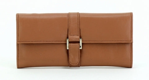 Tan Color Leather Women Jewelry Roll Bag - JR275TAN