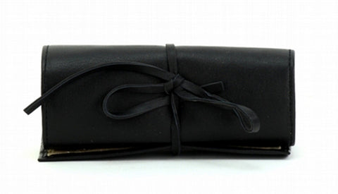 Black Color Leather Women Jewelry Roll Bag - JR320BLK