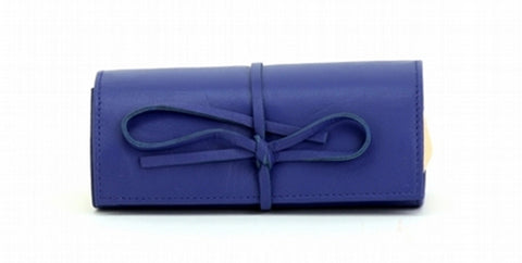 Blue Color Leather Women Jewelry Roll Bag - JR320BLUE