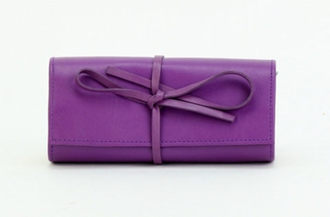 Purple Color Leather Women Jewelry Roll Bag - JR320PRPL