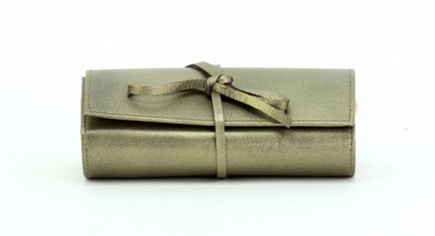 Green Color Leather Women Jewelry Roll Bag - JR320PWTR