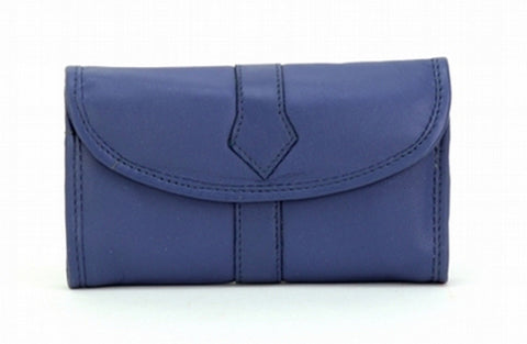 Blue Color Leather Women Jewelry Roll Bag - JR345BLUE