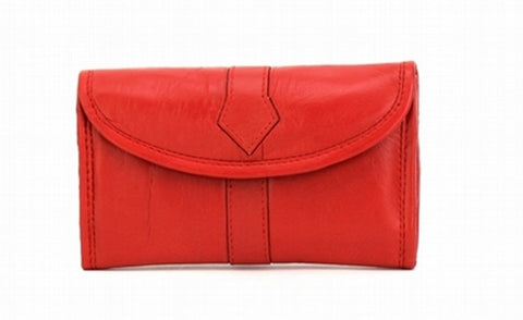 Red Color Leather Women Jewelry Roll Bag - JR345RED