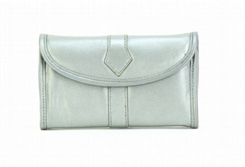 Silver Color Leather Women Jewelry Roll Bag - JR345SLVR