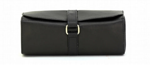 Black Color Leather Women Jewelry Roll Bag - JR420BLK