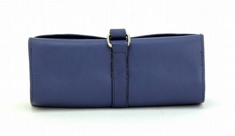 Blue Color Leather Women Jewelry Roll Bag - JR420BLUE