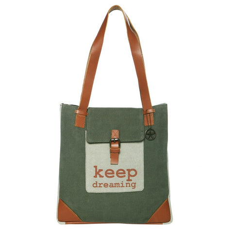 Green Color Upcycled Canvas And Buff Leather Womens Tote Bag - JT33200TB