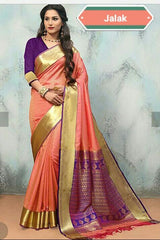 Beige and Blue Color Cotton Masaraised Saree