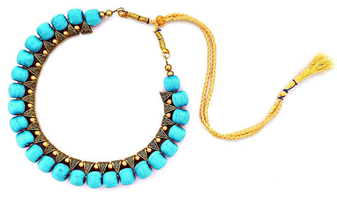 Turquoise Blue Color Handmade Trendy Silk Thread Necklace - Jhanvi-001