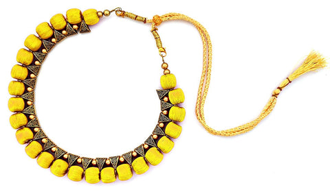 Yellow Color Handmade Trendy Silk Thread Necklace - Jhanvi-002