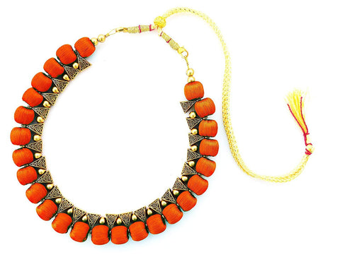 Red Color Handmade Trendy Silk Thread Necklace - Jhanvi-003